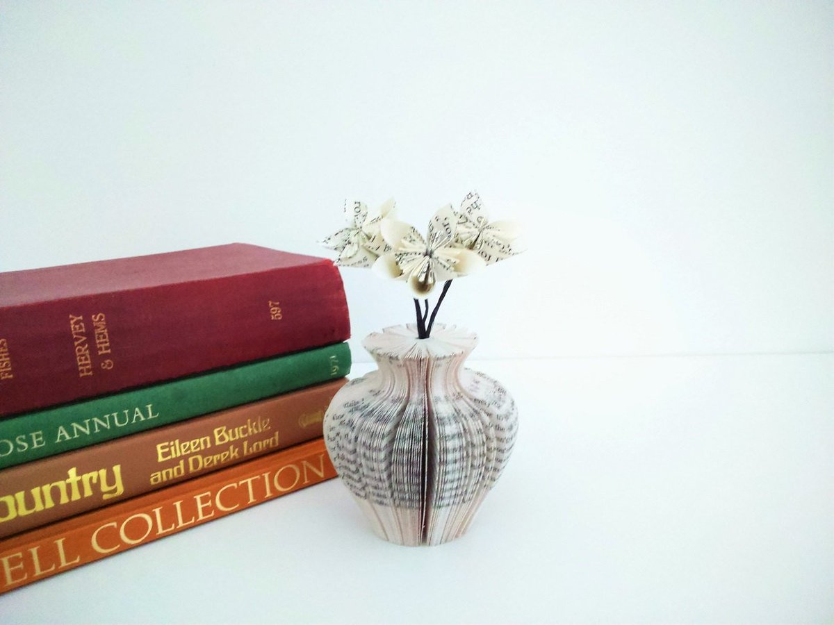Creaton crafts on twitter mini paper vase urn shaped with book flowers httpsetsylisting253306364mini paper vase urn shaped with bookutmsourcearoundutmmediumtwitterutmcampaignaround mightylinksfo