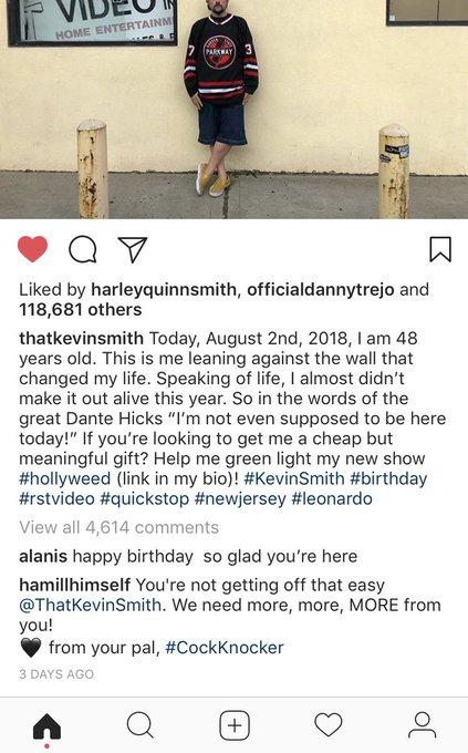 Mark Hamhill wishing Kevin Smith a happy birthday gives me life