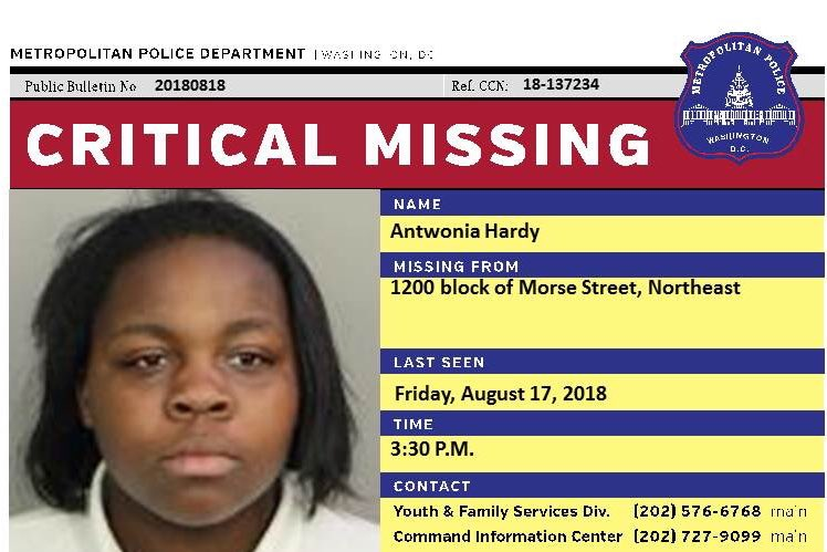 PLEASE RT! Critical #Missing teen - 16YO Antwonia Hardy was last seen in the 1200 block of Morse Street, Northeast #DC on Friday 8/17/2018. Call 202-727-9099/text 50411  @fox5dc  @MissingKids<br>http://pic.twitter.com/P0LCVWZFMh