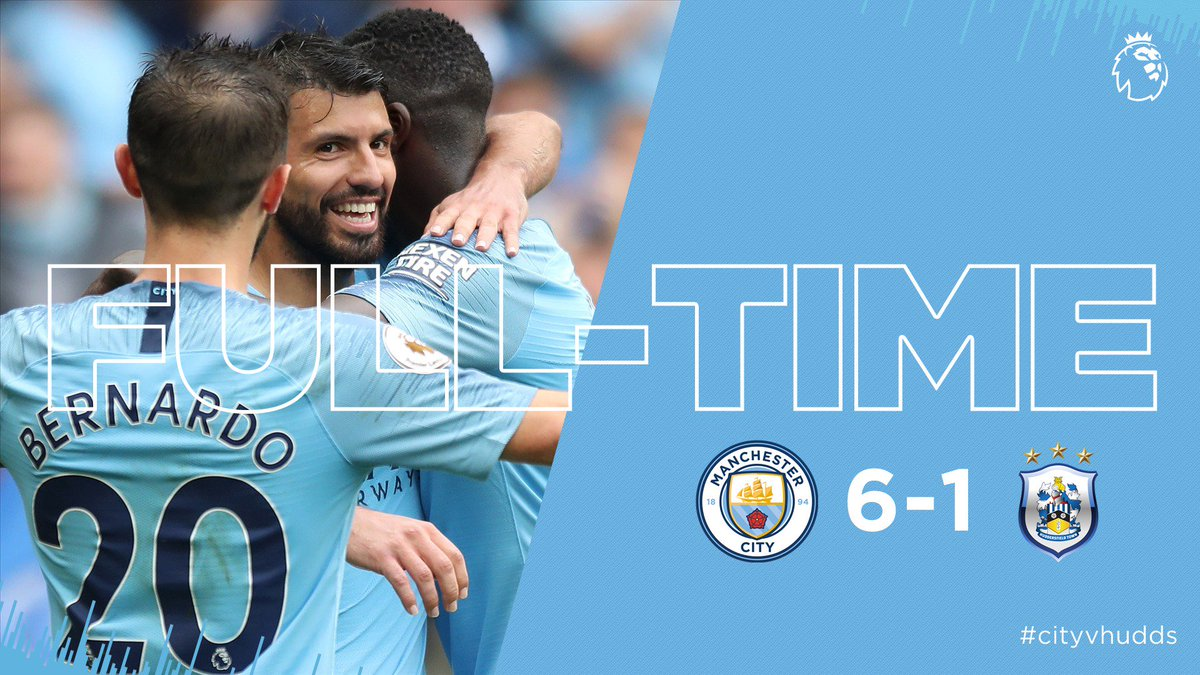 FULL-TIME | A mesmerising way to open our home campaign! ⚡️ 🔵 6-1 🐶 #cityvhudds #mancity