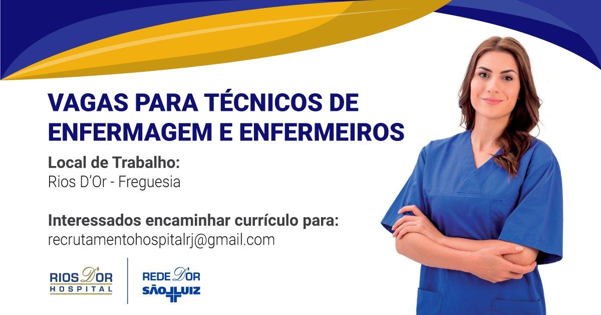| VAGA PARA TÉCNICOS DE ENFERMAGEM E ENFERMEIROS NO RIO'S D'Or  Confira os detalhes da vaga na imagem abaixo e marque um(a) amigo(a) que esteja interessado(a)! #RedeDOr #Oportunidade  Interessados devem mandar e-mail para recrutamentohospitalrj@gmail.com