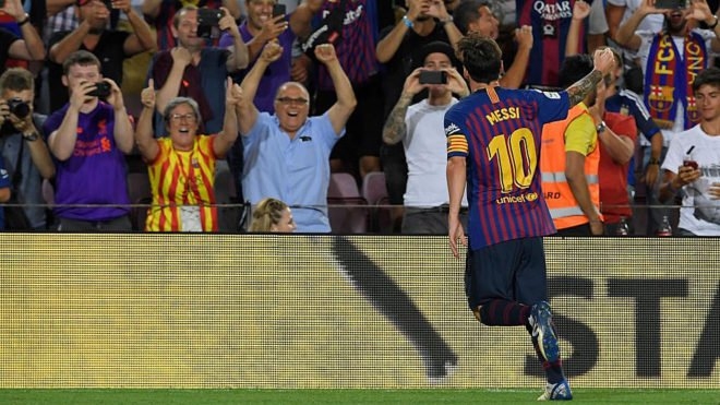   Every time Messi scores Barça&#39;s first goal of the Liga season, the club wins trophies [md]:  2008/09 - Treble 2010/11 - Double (Liga, CL) 2011/12 - 4 trophies (Copa del Rey, Club World Cup, Spanish Super Cup and European Super Cup) 2014/15 - Treble <br>http://pic.twitter.com/mWnWLp7QbP