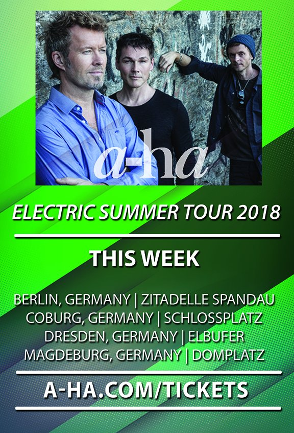 The final two weeks! See a-ha live on their Electric Summer tour - visit a-ha.com/tickets for a list of cities and ticket links! #electricsummer