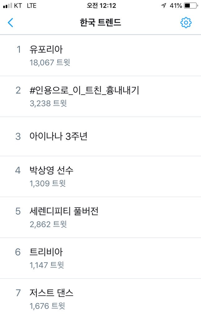 [#JungKookTrends] #유포리아 Euphoria now trending at #1 in Korea. Also at #5 Serendipity Full Version and at #6 Trivia  #방탄소년단 #정국 #방탄소년단정국 #LoveYourSelf #Answer<br>http://pic.twitter.com/G4KtKMUlxD