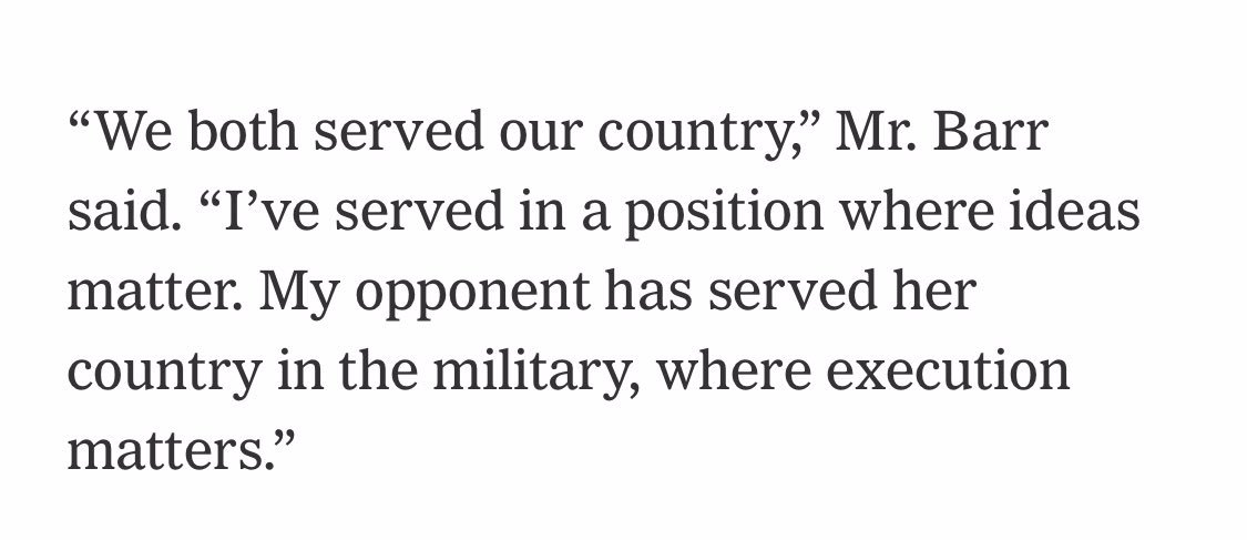 Serving in Congress is important — but next time, @RepAndyBarr, don't compare it to @AmyMcGrath97's decision to defend our country for 20 years in the Marines. https://t.co/2AdLoGmfli