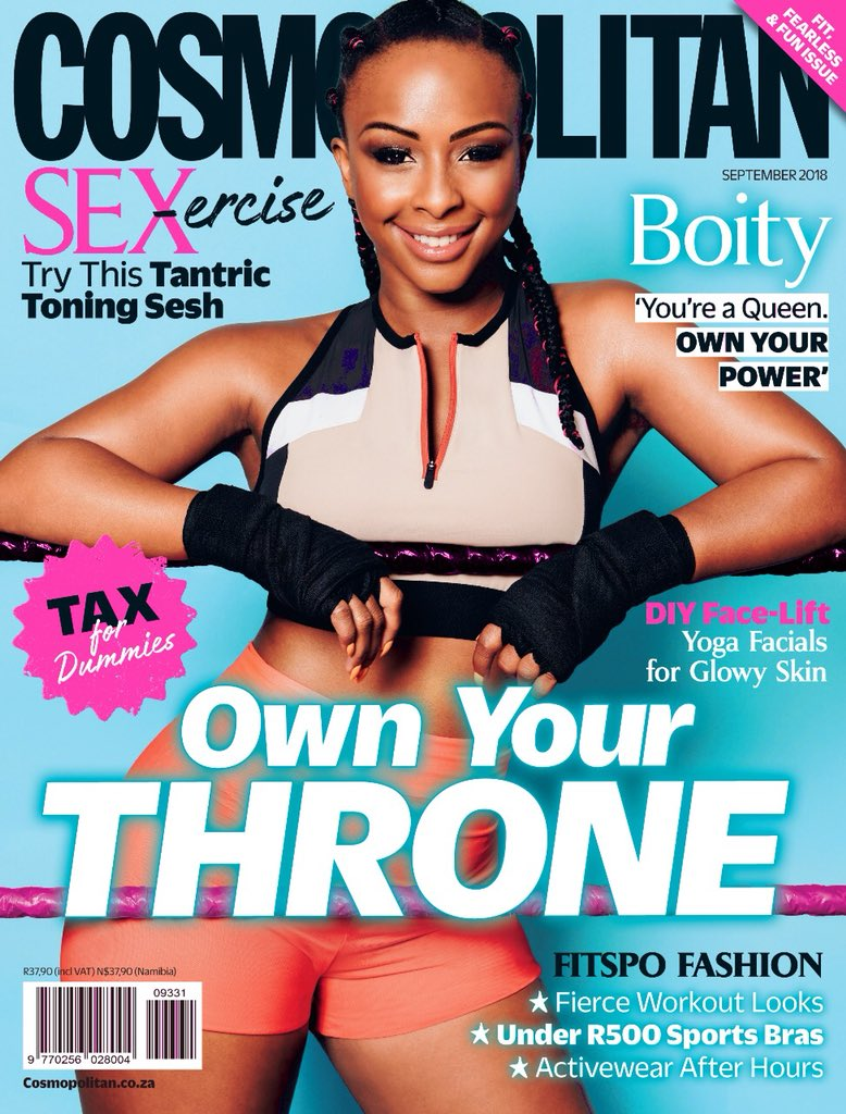 OWN YOUR THRONE!!!! 👑🐆💫 IT'S FINALLY HERE! 💙👑 I am so honoured to share that I'm your @cosmopolitansa September cover star! 😍 #OwnYourThrone👑 #COSMOxBoity https://t.co/TdBujKwnTD