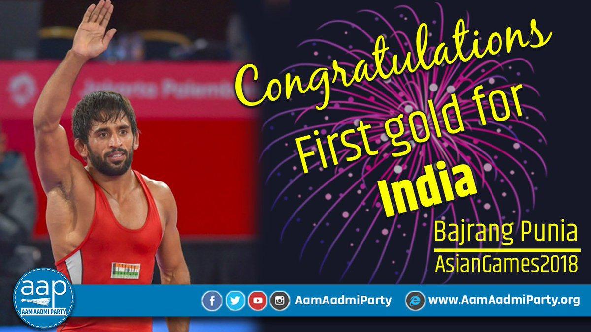 Congratulations @BajrangPunia for the First Gold for India !  #BajrangPunia #AsianGames2018