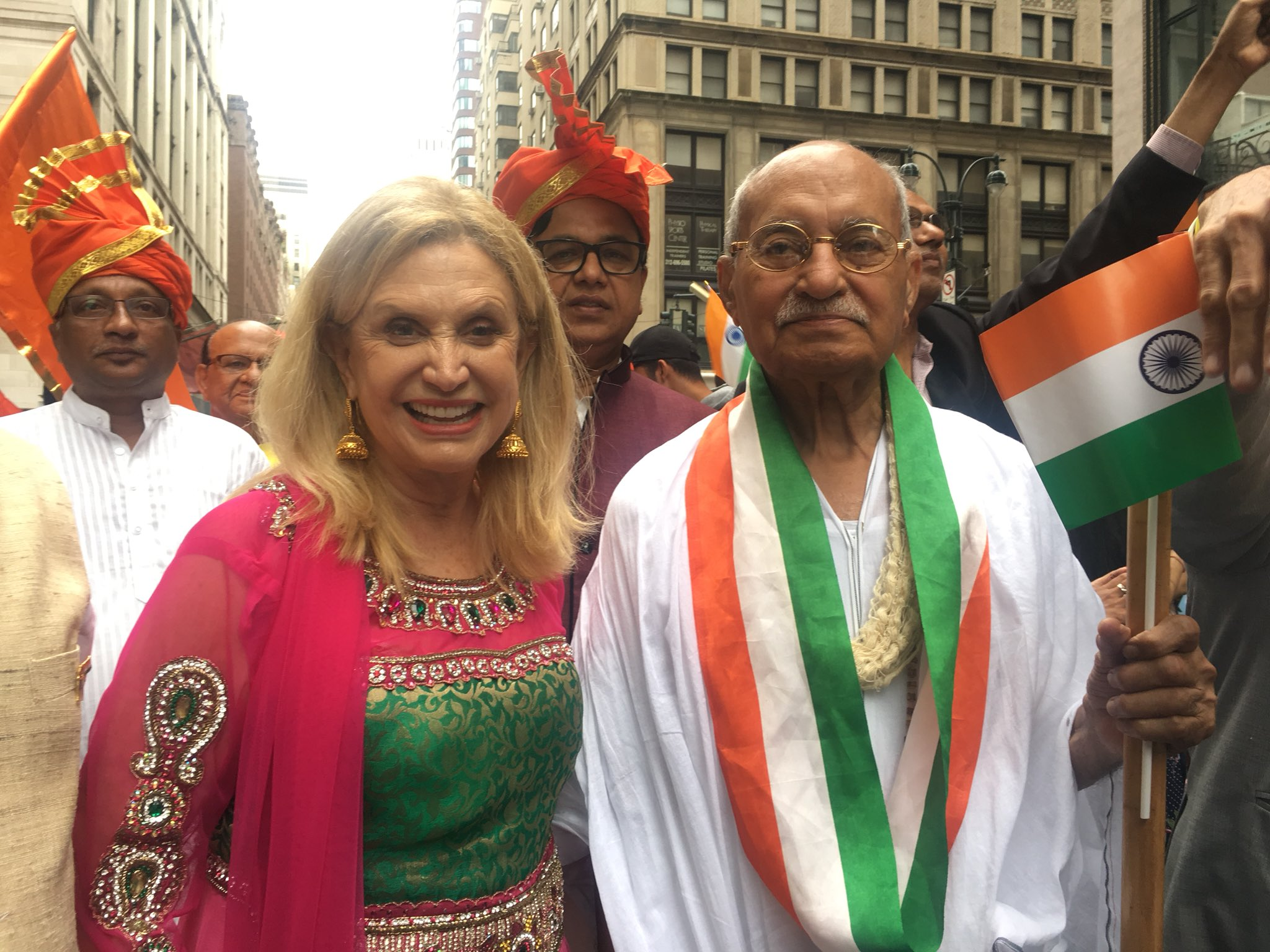 """Marching with """"Gandhi"""" at the #IndiaDayParade https://t.co/5qtRa2mmlW"""