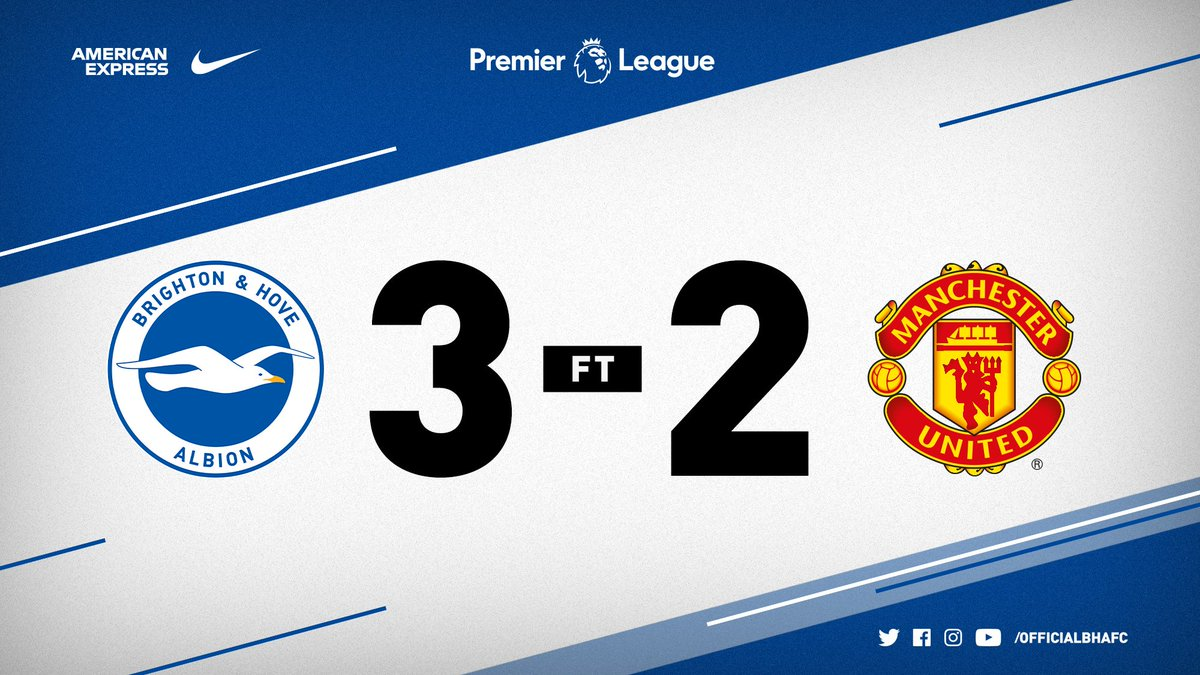 🏟️ What an afternoon at the Amex! Albion take all three points against @ManUtd - for the second time this year. ⚽️ Murray, Duffy and Gross are the goalscorers - Lukaku and Pogba find the back of the net for the visitors. #BHAFC 🔵⚪️