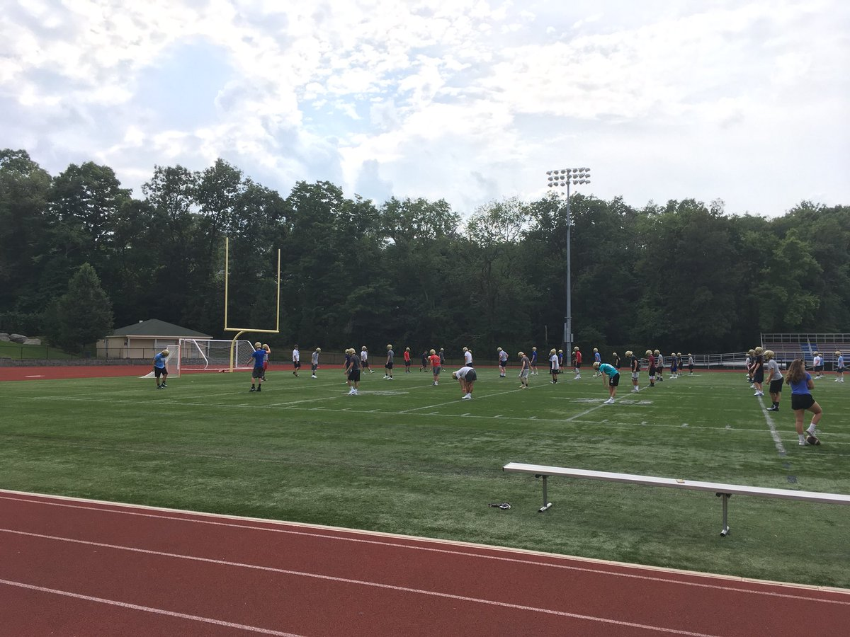 FOOTBALL IS BACK.  It's the first day of tryouts, and I'm here at Memorial Field in Braintree to watch Archbishop Williams practice. Matt Reggiannini takes over as HC for Bill Kinsherf, who retired after 22 seasons. <br>http://pic.twitter.com/fi9kyUOBey &ndash; à Memorial Field