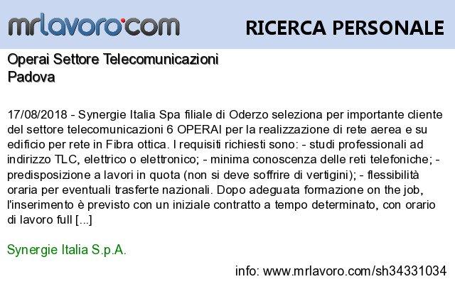 Nuove offerte di #lavoro #Padova:Operai Settore TelecomunicazioniInfo:  https:// www.mrlavoro.com/tw34331034  - Ukustom