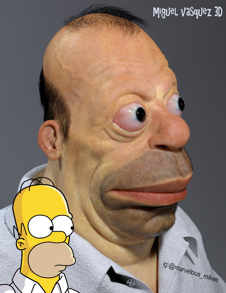 My 3D re-imagining of what Homer Simpson would look like in real life.