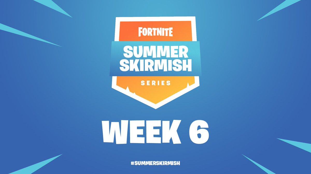 #SummerSkirmish Week 6 Day 1 has begun at okt.to/zTL4oY Tweet using #SummerSkirmish to share clips of your favorite moments of the event for a chance to have it featured on stream!📸 Keep up with the standings here: epicgames.com/fortnite/news/…