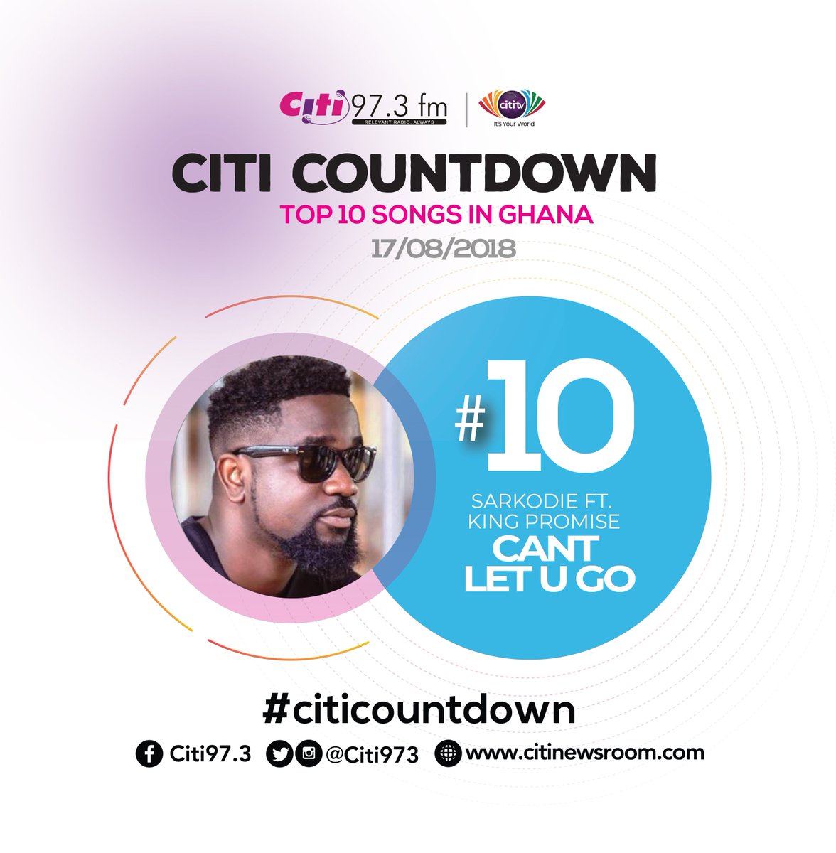 Let's get on the chart this week and it's the King @sarkodie at Number 10  with Can't Let You Go. He features @IamKingPromise on this one  #CitiCountdown ...
