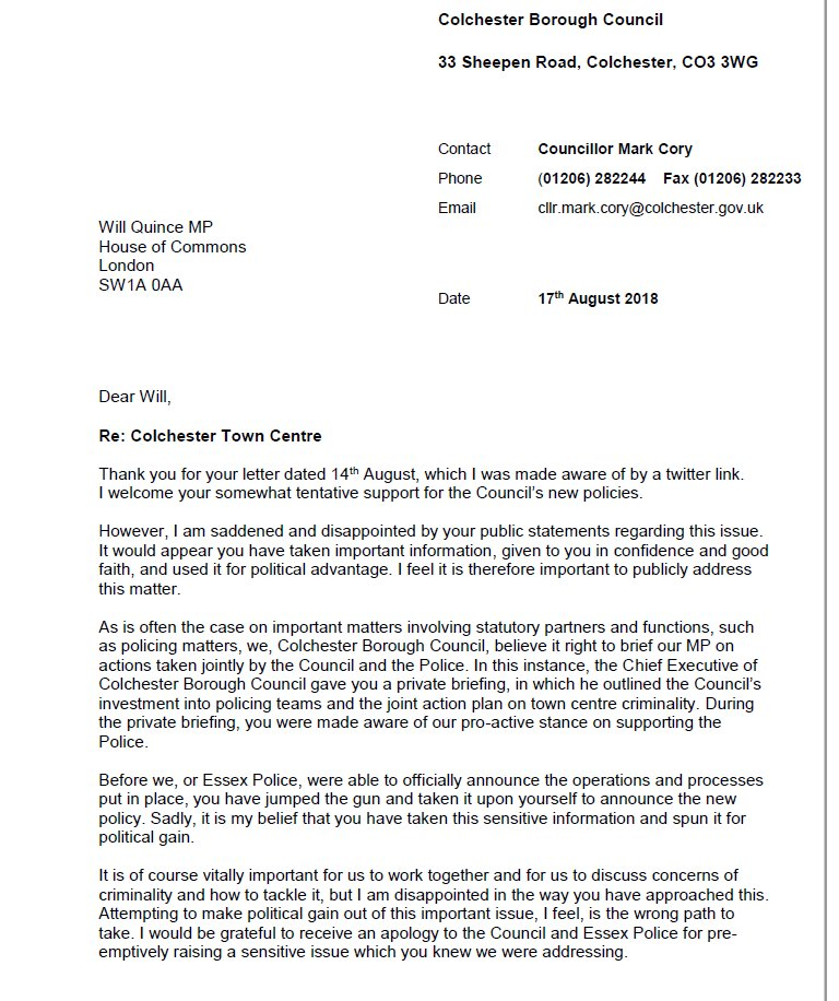 My response to @willquince  This is an issue of trust and taking out the need for political spin. I&#39;m happy Will supports our policy. The Progressive Alliance are taking the step to invest in local policing to help our Police deliver a safer town centre and rural communities. <br>http://pic.twitter.com/wskiWnXyq3