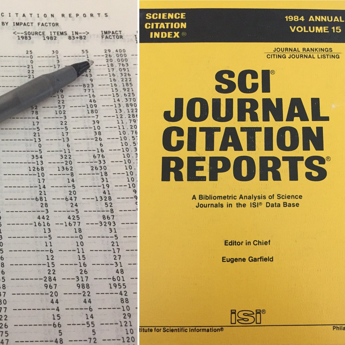 That's a first: explaining how the #ImpactFactor and @webofscience work using an original #JournalCitationReport from the year I was born  #MetricsLiteracy #ScholCommLab<br>http://pic.twitter.com/R4sD1aULJe &ndash; à Desmarais Building (DMS)