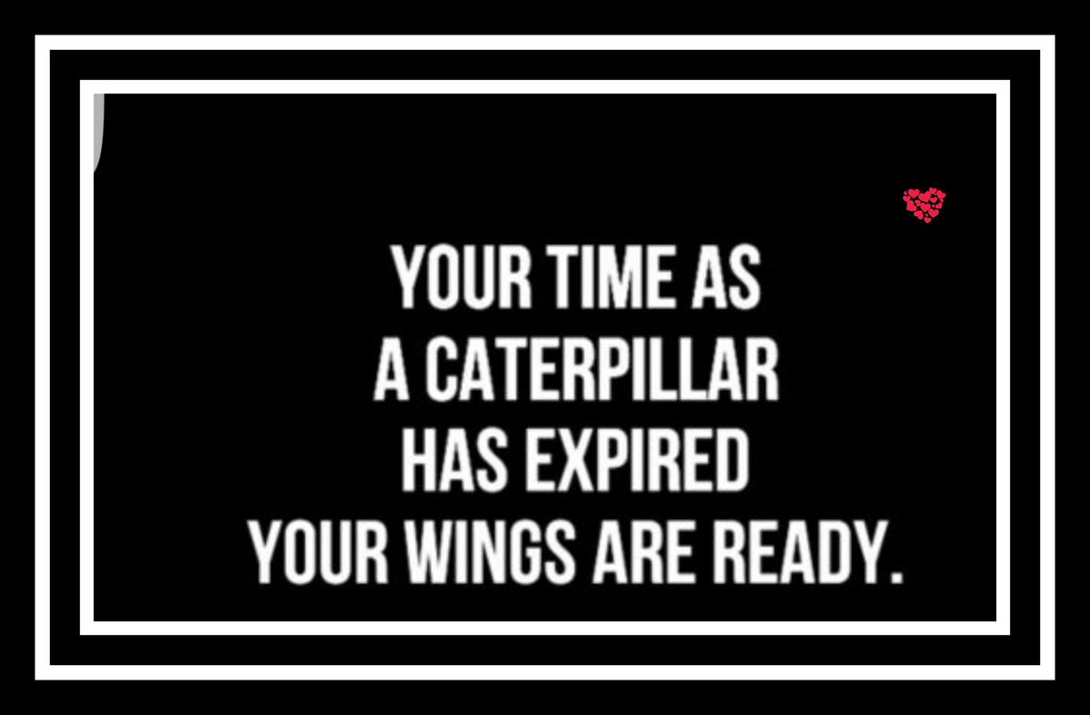 &quot;Your #time as a #caterpillar has #expired...  Your #wings are #ready&quot;  #BelieveInYourself #BeHappyBeYou #MakeItHappen #Motivation <br>http://pic.twitter.com/T6kI1DQlXV