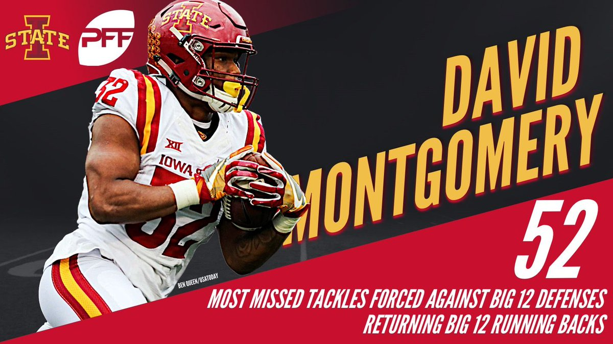 David Montgomery forced more missed tackles in Big 12 play than any other returning conference back.