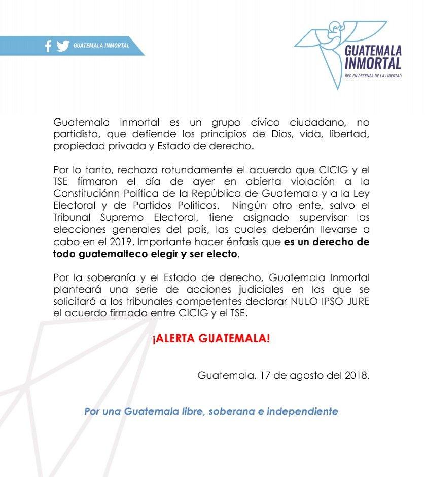 Pronunciamiento de Guatemala Inmortal con relación al acuerdo firmado entre @TSEGuatemala y @CICIGGuatemala