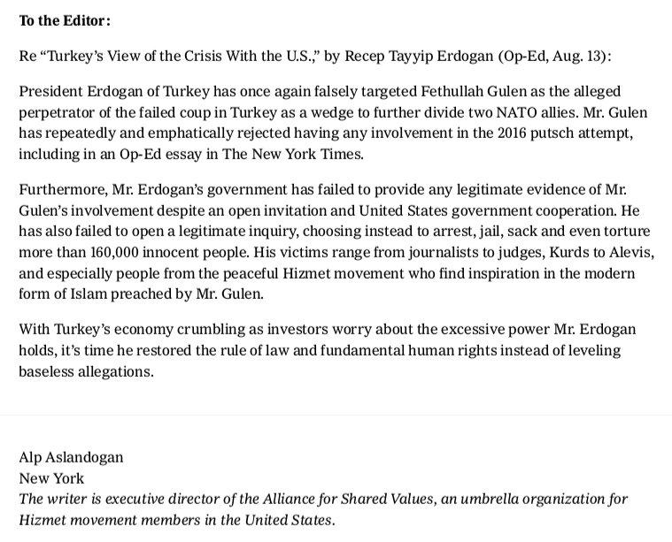 dr alp aslandogans letter to the editor on nytimes in response to op ed by turkeys president erdogan