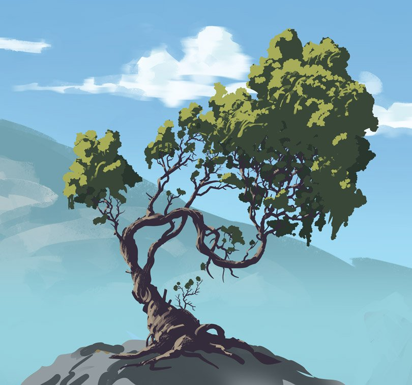 Showing to my intern how to speed paint a tree in less than twenty minutes :