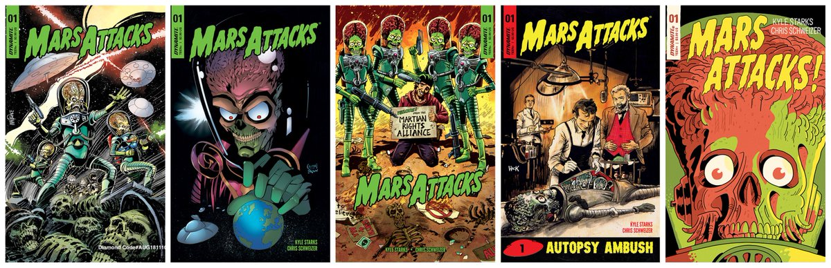 Dynamite Fans Preorder MARS ATTACKS #1 now from your LCS The deadline to preorder is tomorrow 8/18 Well help w/Attached covers & Diamond Order Code @kylestarks AUG181110 @MandrakeTom AUG181111 @ruairicoleman AUG181112 @eoinmarron AUG181113 @Robert_Hack AUG181114 @schweizercomics