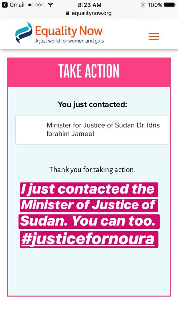 I just contacted the Minister of Justice of Sudan. You can too. 👍🏼 equalitynow.org/noura #JusticeForNoura