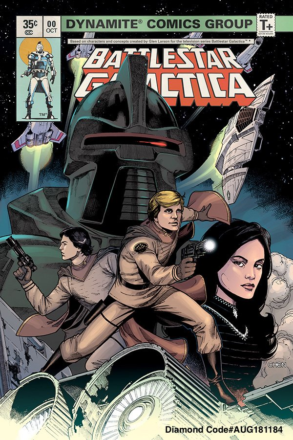 Dynamite Fans Preorder BATTLESTAR GALACTICA #0 now from your Local Comic Shops Only 35¢! The deadline to turn in your preorder is tomorrow, 8/18. Well help w/Attached cover & Diamond Order Code Enjoy @jjmfaraway @bsgfanclub @humanorcylon AUG181184 Sean Chen