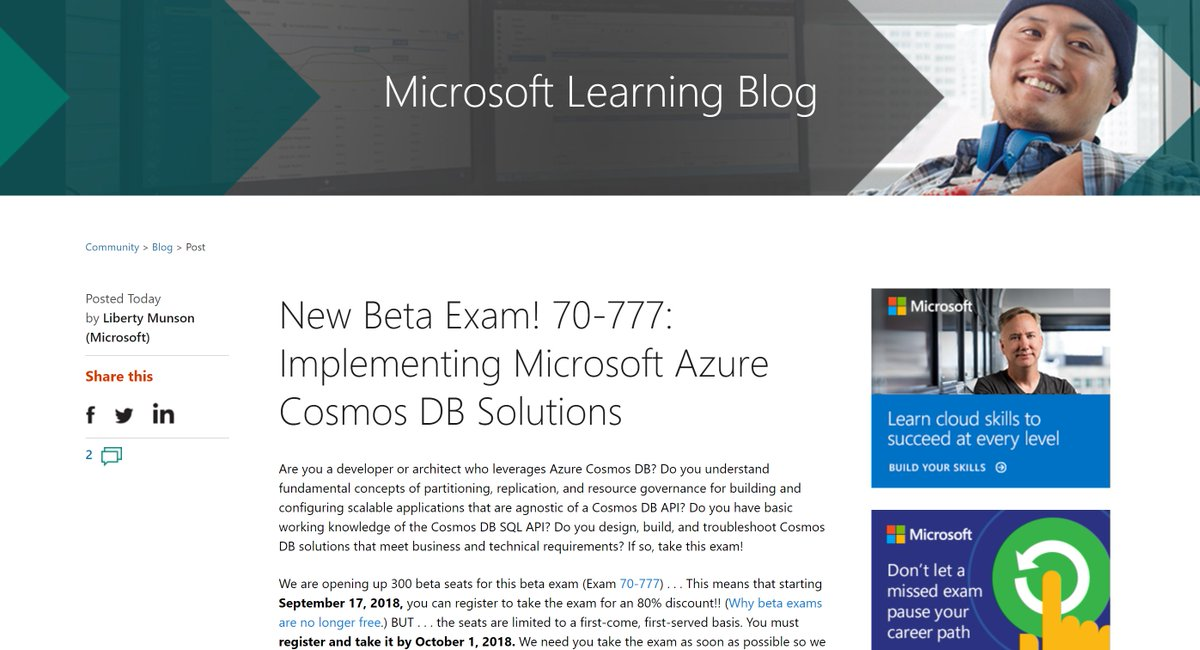 Azure Cosmos Db On Twitter New Beta Exam 70 777 Implementing