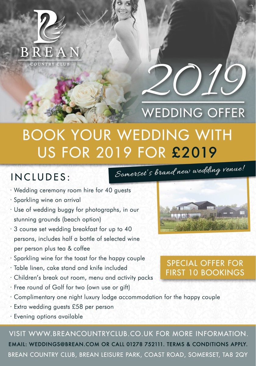 Wedding offer for #2019 at Somerset&#39;s new wedding venue Brean Country Club #Somersetwedding<br>http://pic.twitter.com/5ShVZnCqX9