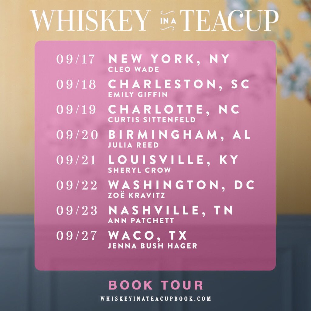 I am BEYOND thrilled to announce the line-up of phenomenal ladies who will be joining me in each city for my upcoming #WhiskeyinaTeacup book tour! This is gonna be so darn fun! Grab your family, friends, besties… and reserve your spot! See you soon! whiskeyinateacupbook.com