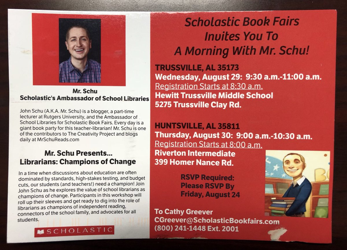 Woo-Hoo-  It's official! The Scholastic Reading Summit is Wed, Aug 29th at HTMS and Mr. Schu will be here! Librarians anywhere near eastern Alabama- RSVP by Aug 24th!  #readingsummit @Scholastic #htmsreads #librariesmatter @MrSchuReads<br>http://pic.twitter.com/WbdGt2Nhch