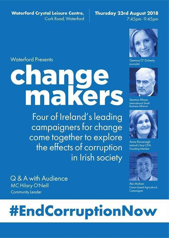 Want to know how deep or high the corruption in our country goes?Come along to hear these amazing Anti-Corruption Campaigners speak about it at Waterford Crystal Centre, Cork Rd, 7.45pm THURSDAY AUGUST 23rd. #EndCorruptionNow #ChangeMakers @gemmaod1 @alomohan @I_S_B_A @annamkav1<br>http://pic.twitter.com/WcL71xOO8Q