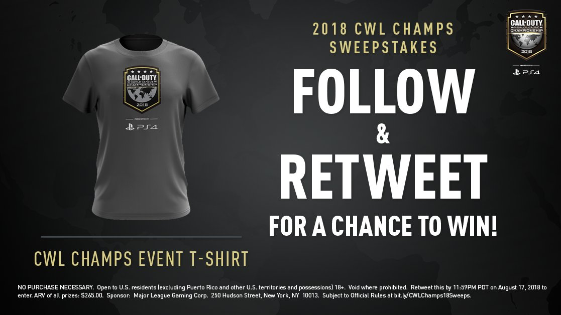 2018 CWL Champs Sweepstakes: Follow and RT for a chance to win a CWL Champs t-shirt!  Must RT by 11:59PM PT August 17. Rules: https://t.co/C1t5lU97t3 #CWLPS4 | #CWLChamps