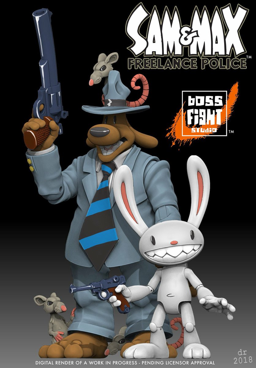 We know people have been waiting to see a better look at these knuckleheads.   Steve Purcell&#39;s Sam &amp; Max Freelance Police collectible toys coming soon from Boss Fight Studio! <br>http://pic.twitter.com/a2SlUE66Wg