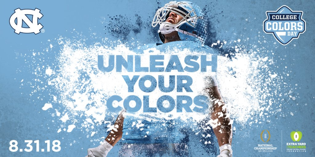 Two weeks until #CollegeColorsDay! Get ready to unleash your Carolina blue — and your camera! We want to see you showing your Tar Heel pride on 8/31 🐏 https://t.co/SutyZIW2DV