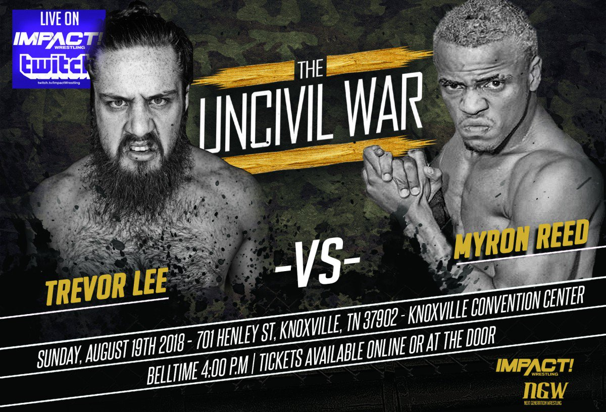 THIS SUNDAY LIVE on Twitch in association with @NextGenTN we present The Uncivil War at 4pm ET! @TLee910 vs. @TheBadReed HERE: twitch.tv/impactwrestling