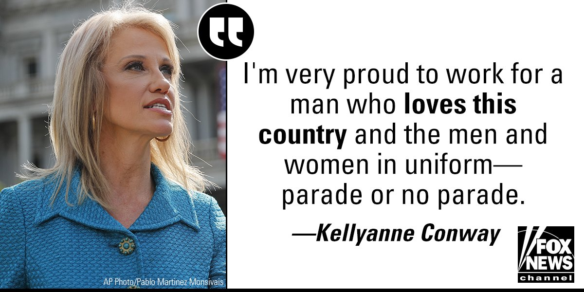 .@KellyannePolls reacted to the postponement of the planned November military parade in D.C. during an interview on @foxandfriends Friday.  http:// fxn.ws/2vSBis5  &nbsp;  <br>http://pic.twitter.com/9HfMm8WiYZ