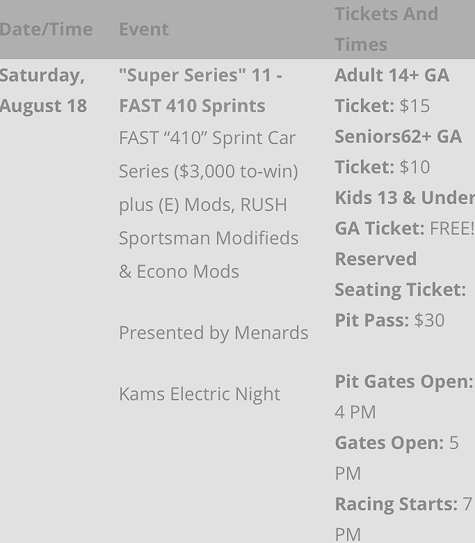 The FAST 410 teams will be heading to Sharon Speedway tomorrow!  *Gate times &amp; prices can be found below *GPS address for the track 3241 Custer-Orangeville Rd. Hartford, OH 44424 *Teams are required to fill out forms before receiving pay *There is NO fee for tomorrow's race <br>http://pic.twitter.com/KGnU50TwrX