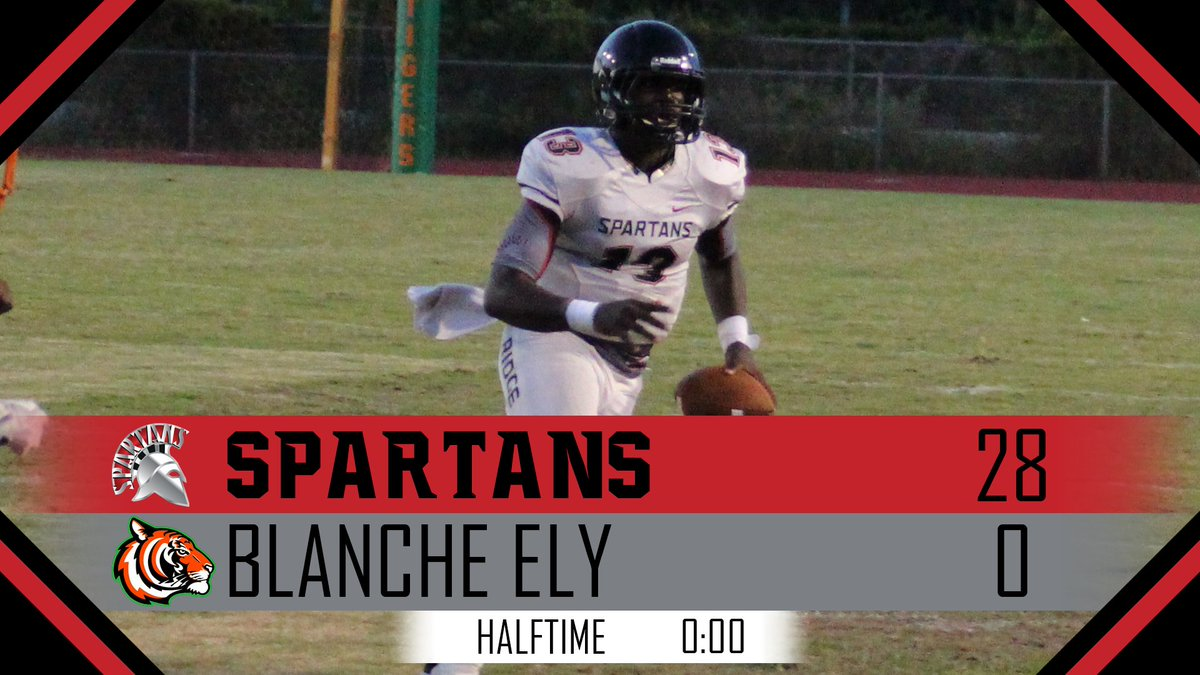 We&#39;re at the half. Spartans dominate on both sides of the ball and head into the locker room with a 28-0 lead. #TeamRidge<br>http://pic.twitter.com/Jho3rz7tsD