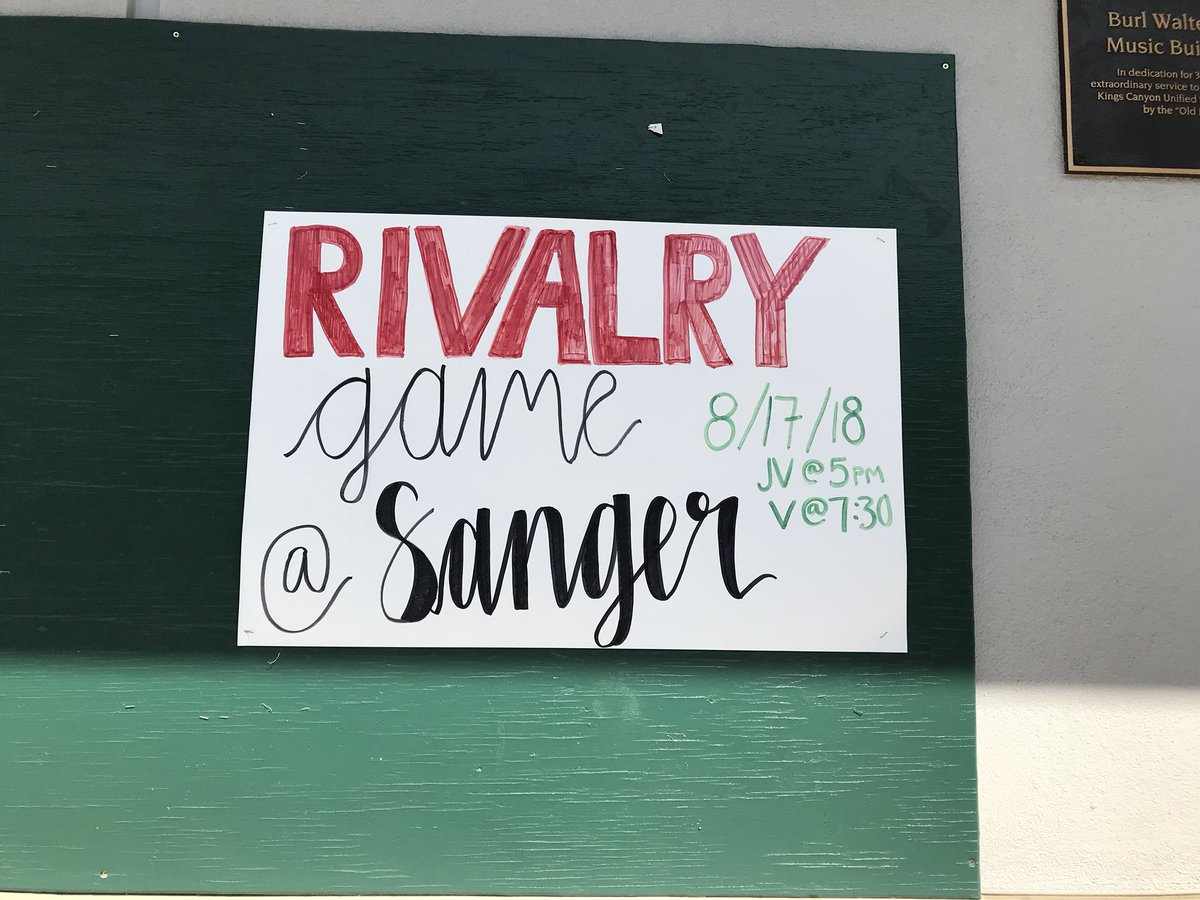 Tonight's the Big Rivalry Game against Sanger! Make sure to wear WHITE to support our boys football team! The varsity game starts at 7:30pm at Sanger High  <br>http://pic.twitter.com/VUCUqLIle0
