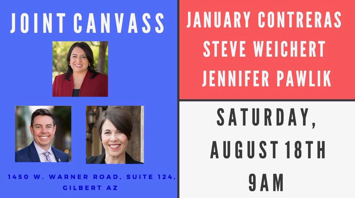 Hey, East Valley! Join Arizona List candidates @Jennifer_Pawlik and @JanuaryAZ for a joint canvass tomorrow morning:  http:// facebook.com/events/2835258 02401653 &nbsp; … <br>http://pic.twitter.com/t7yeNkm3Pe