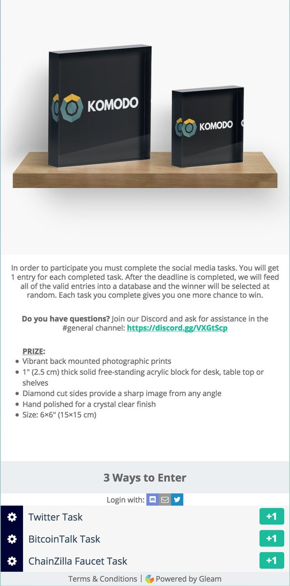 5 days left for a chance to win a @KomodoPlatform acrylic block.   https:// gleam.io/PzrJl/chainzil la-sweepstakes-komodo-acrylic-block &nbsp; …  Each task completed counts as one entry towards the prize. If you have any questions join our Discord.  https:// discord.gg/3F6PNnf  &nbsp;   $NEM $Qtum #Airdrops #cryptocurrency #Sweepstakes $ZILLA #BaaS<br>http://pic.twitter.com/vfTezLvUWe