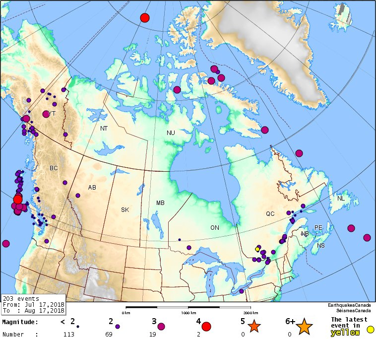 DYK? 203 earthquakes located across #Canada during the past 30 days. Five were felt, 19 were M&gt;3,  two were M&gt;4. The largest was M 4.6. This is a typical pattern, and closely follows the seismic hazard map of Canada.   http://www. earthquakescanada.nrcan.gc.ca/recent/maps-ca rtes/index-en.php &nbsp; …  #NRCanSci<br>http://pic.twitter.com/zwxdsLE7KA