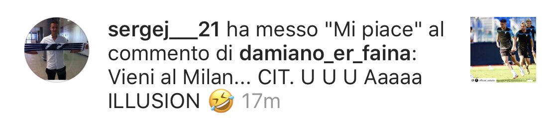 Nel frattempo Sergej su Instagram nel caso non fosse chiaro li schifa pubblicamente. #milan #MILINKOVICSAVIC #Milinkocrazia #calciomercato #insiders #SSL  - Ukustom