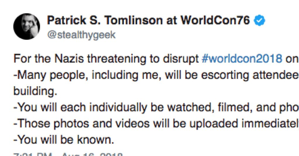 Author Patrick S. Tomlinson Threatening to Call People Nazis at WorldCon  http:// boundingintocomics.com/2018/08/17/pat rick-tomlinson-nazi-worldcon/ &nbsp; … <br>http://pic.twitter.com/6DwgBEteXx