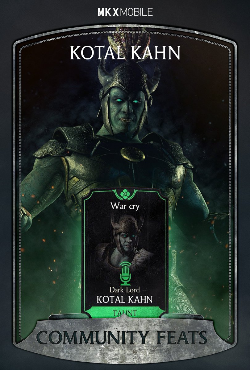 Ready for more #FridayFeats? For a chance to win 500 Souls unlock Dark Lord Kotal Kahns War Cry Victory Taunt! Prove it by posting a screenshot of the menu showing the unlocked feat by August 24th! #Sweepstakes and #MKXMobileCommunityFeats to qualify!