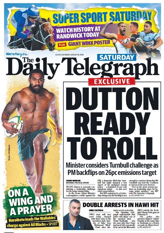 Exclusive: Peter Dutton is seriously considering launching a challenge for the prime ministership as Malcolm Turnbull backflipped on legislating the 26% Paris emissions reduction target in a desperate bid to save his leadership. https://t.co/etmN3xbaIz
