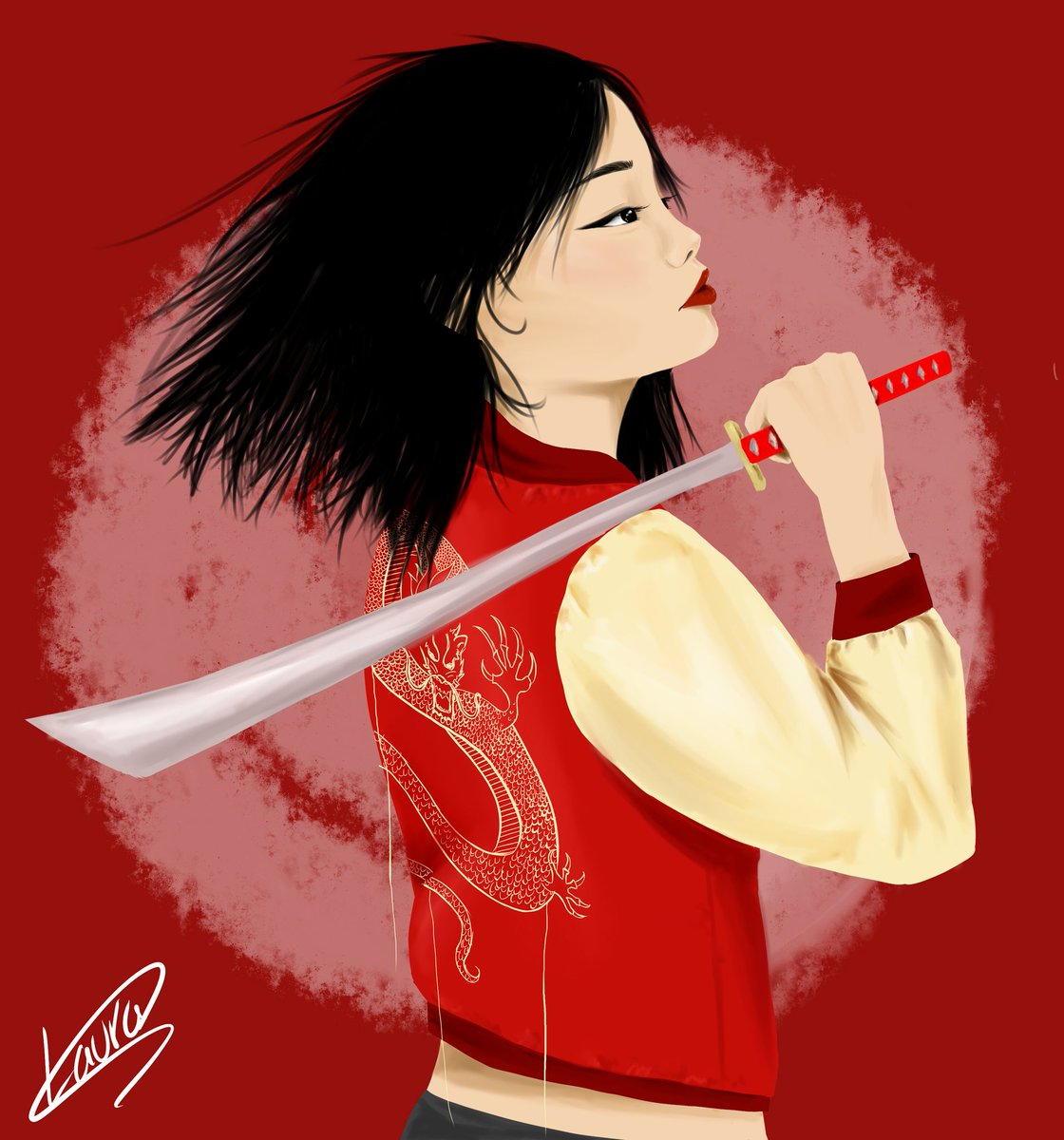 I wanted to draw Mulan in lesbian clothing too <br>http://pic.twitter.com/W93UMbdPud