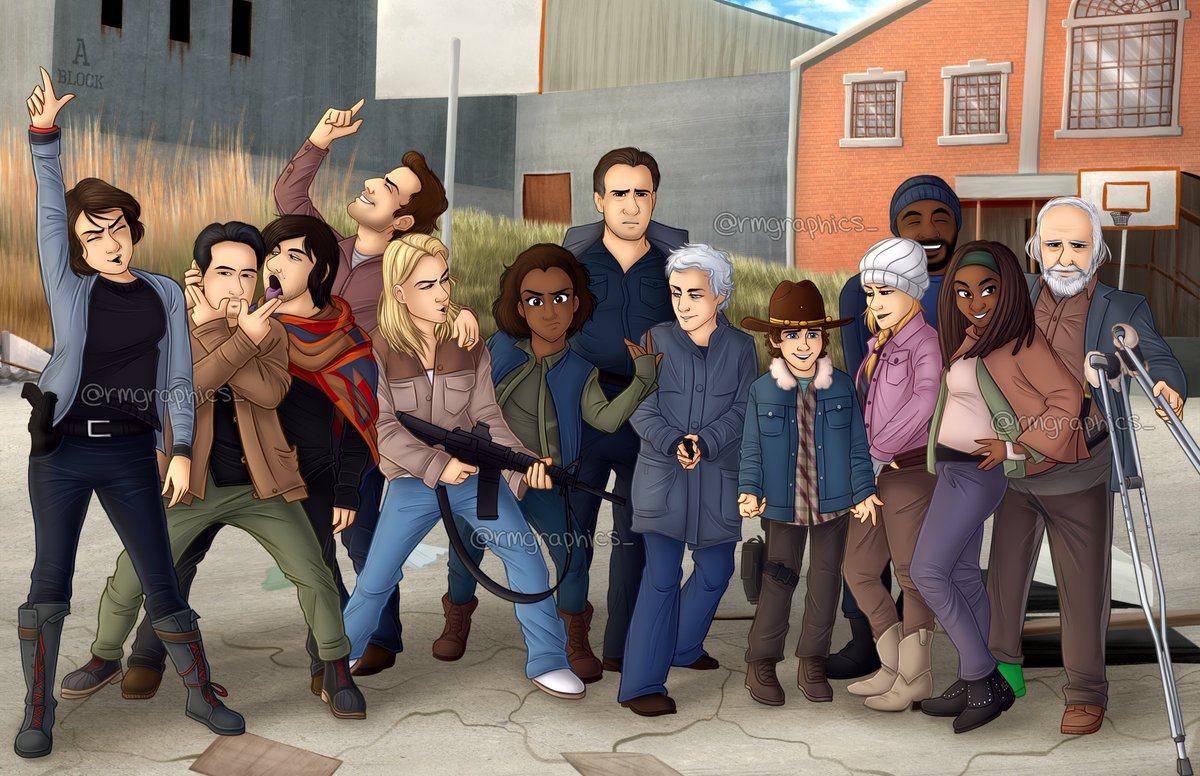 TWD season 3 cast picture...Disney-fied! It was super fun to draw this crazy cast pic!!! :D I hope you guys like how it turned out!  (So cool I finally got to draw the Governor too, I miss his character!) #twd #FanArtFriday #twdcast <br>http://pic.twitter.com/l02SSEjMk7